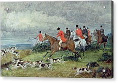 Fox Hunting In Surrey Acrylic Print by Randolph