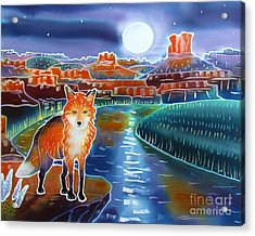 Fox In The Moonlight Acrylic Print by Harriet Peck Taylor