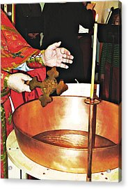 Fr Yakov Blesses Water Acrylic Print by Sarah Loft