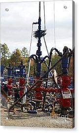 Fracking Well Heads Acrylic Print by Bill Cunningham/us Geological Survey