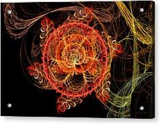 Fractal - Abstract - Mardi Gras Molecule Acrylic Print by Mike Savad