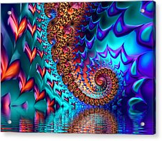 Fractal Sea Of Love With Hearts Acrylic Print by Matthias Hauser