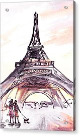 France Sketches Walking To The Eiffel Tower Acrylic Print by Irina Sztukowski