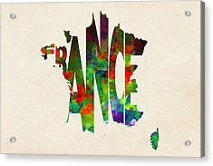France Typographic Watercolor Map Acrylic Print by Ayse Deniz