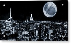 Frank Sinatra New York City Moon Acrylic Print by Dan Sproul