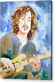Frank Zappa Playing The Guitar Watercolor Portrait Acrylic Print by Fabrizio Cassetta