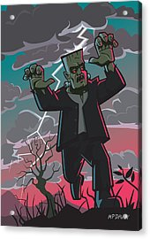 Frankenstein Creature In Storm  Acrylic Print by Martin Davey