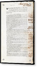 Franklin's Copy Of The Us Constitution Acrylic Print by American Philosophical Society
