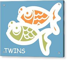 Fraternal Twins - Baby Room Art Acrylic Print by Nursery Art
