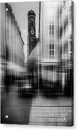 Frauenkirche - Muenchen V - Bw Acrylic Print by Hannes Cmarits
