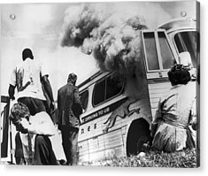 Freedom Riders Bus Burned Acrylic Print by Underwood Archives