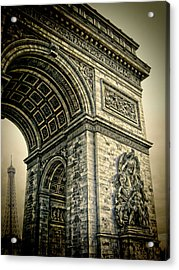 French - Arc De Triomphe And Eiffel Tower Acrylic Print by Lee Dos Santos