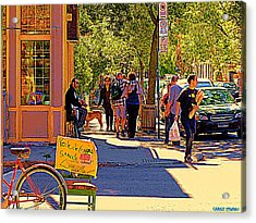 French Bread On Laurier Street Montreal Cafe Scene Sunny Corner With Vente De Garage Sign Acrylic Print by Carole Spandau