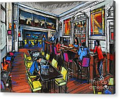 French Cafe Interior Acrylic Print by Mona Edulesco