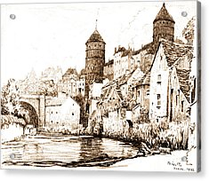 French Fortified Town 1922 Acrylic Print by Padre Art