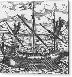French Galley Operating In The Ports Of The Levant Since Louis Xi  Acrylic Print by French School
