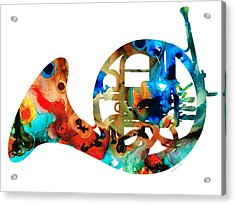 French Horn - Colorful Music By Sharon Cummings Acrylic Print by Sharon Cummings