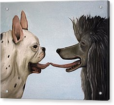 French Kiss Acrylic Print by Leah Saulnier The Painting Maniac