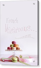 French Macaroons On Dessert Tray Acrylic Print by Sandra Cunningham