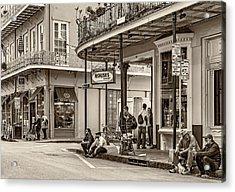 French Quarter - Hangin' Out Sepia Acrylic Print by Steve Harrington