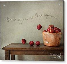 Fresh Apples On Wooden Table Acrylic Print by Sandra Cunningham