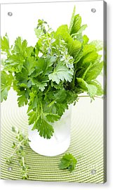 Fresh Herbs In A Glass Acrylic Print by Elena Elisseeva