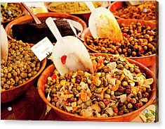 Fresh Olives And Mixed Salads Acrylic Print by Brian Jannsen