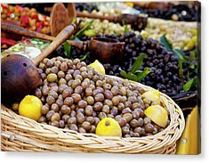 Fresh Olives For Sale At The Local Acrylic Print by Brian Jannsen