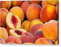 Fresh Organic Peaches  Acrylic Print by Leyla Ismet