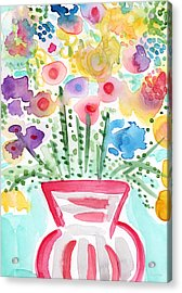 Fresh Picked Flowers- Contemporary Watercolor Painting Acrylic Print by Linda Woods