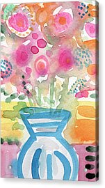 Fresh Picked Flowers In A Blue Vase- Contemporary Watercolor Painting Acrylic Print by Linda Woods