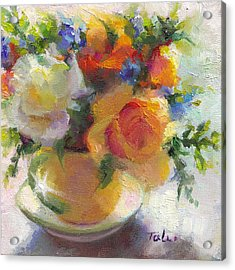 Fresh - Roses In Teacup Acrylic Print by Talya Johnson