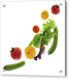 Fresh Vegetables Flying Acrylic Print by Elena Elisseeva