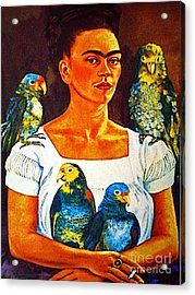 Frida In Tlaquepaque Acrylic Print by Mexicolors Art Photography