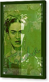 Frida Kahlo - Between Worlds - Green Acrylic Print by Richard Tito