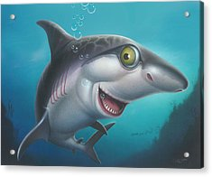 friendly Shark Cartoony cartoon under sea ocean underwater scene art print blue grey  Acrylic Print by Walt Curlee