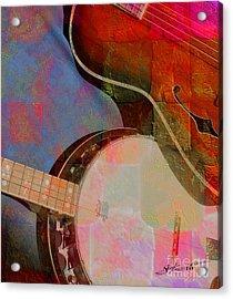 Friends Again Digital Banjo And Guitar Art By Steven Langston Acrylic Print by Steven Lebron Langston