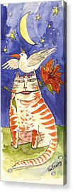 Fanciful Cat Acrylic Print featuring the painting Friends by Tina Fanning