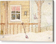 Front Porch In Snow With Clothesline/ Digital Watercolor Acrylic Print by Sandra Cunningham
