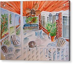 Front Porch Sitting Acrylic Print by Elaine Duras