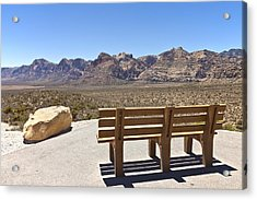 Front Row Seat Looking At The Landscape Red Rock Canyon Nevada. Acrylic Print by Gino Rigucci