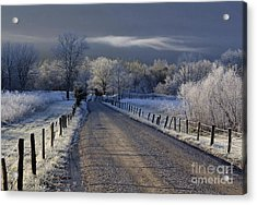 Frosty Cades Cove Hdr Acrylic Print by Douglas Stucky