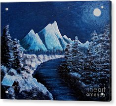 Frosty Night In The Mountains Acrylic Print by Barbara Griffin