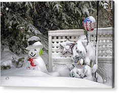 Frosty The Snow Man Acrylic Print by Thomas Woolworth