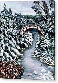 Frozen Brook - Winter - Bridge Acrylic Print by Barbara Griffin