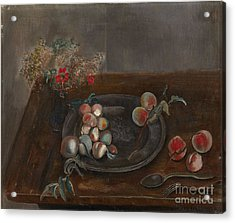 Fruit And Flowers On A Table Acrylic Print by Celestial Images