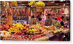 Fruits At Market Stalls, La Boqueria Acrylic Print by Panoramic Images