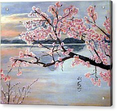 Fujisan No Sakura Acrylic Print by Vlad Grigore