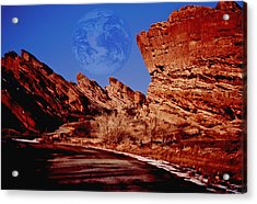 Full Earth Over Red Rocks Acrylic Print by Kellice Swaggerty