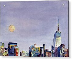 Full Moon And Empire State Building Watercolor Painting Of Nyc Acrylic Print by Beverly Brown